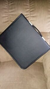 Art Portfolio Folder Case Binder Black Faux Leather W 22 Sketches 14 x16 L k