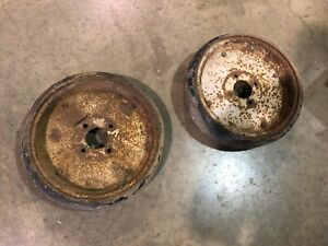 Antique vintage Solid Metal Cart Wheels With Solid hard Rubber Tires Industrial