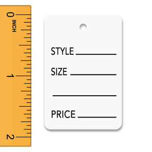 Printed Tags In White 1 25 W X 1 875 H Inches Box Of 1000
