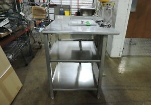 Commercial Stainless Steel Work Table With Sink And Cup Dispensers