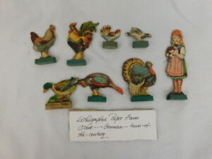 Antique Lithographed Paper Doll Farm Scene German Girl Cat Turkey Chicken