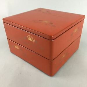 Japanese Red Lacquer Ware Bento Box 2 Tiered Vtg Wooden Jubako Gold Lunch Jb36