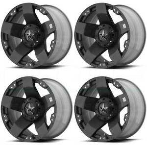 4 New 17 Xd Xd775 Rockstar Wheels 17x8 5x114 3 5x4 5 5x5 35 Matte Black Rims