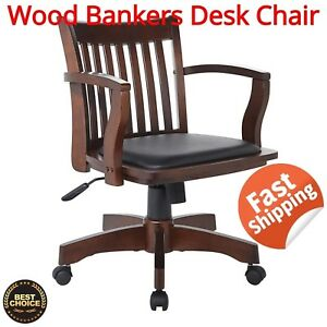 Wood Bankers Desk Chair Espresso With Black Vinyl Padded Seat Office Home Modern