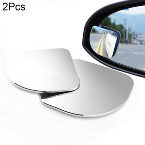 2pcs Hd Glass Convex Car Motorcycle Blind Spot Mirror For Parking Rear View