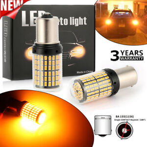 2x 12v 18w 1156 144smd Ba15s Led Turn Signal Lights Bulb Canbus Amber Yellow New