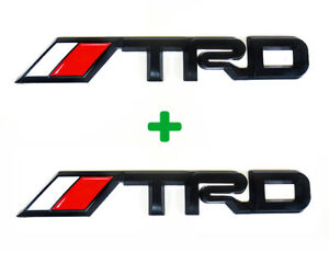 2x Black Trd Trunk Badges Emblems Racing 3d Decal Matte Black Metal Logos