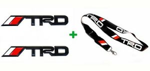 2x Black Trd Emblems And 1 Lanyard Racing 3d Decal Matte Metal Logos