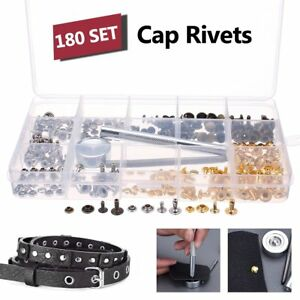 180pcs Silver Gold Metal Single Cap Rivet Set Tubular Studs Fixing Tool Kit F