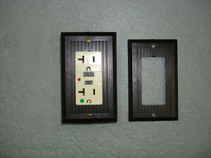 Vintage Uniline Brown Decora Gfci Switch Outlet Cover Plate Ribbed Gem