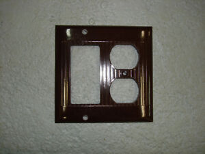 Vintage Uniline Brown Decora Gfci Switch Outlet Cover Plate 2 Gang Sierra