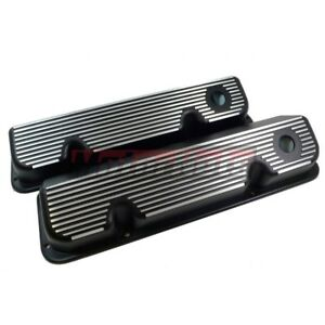 Ford 400m 351c Cleveland Black Cast Aluminum All Finned Valve Covers Tall Hole
