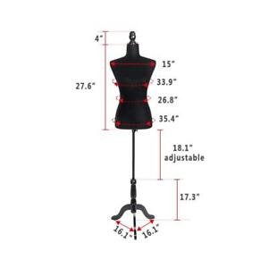 Black Female Mannequin Torso Clothing Display W Black Tripod Stand Foam New