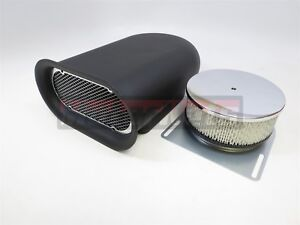 Mini hillborn Hood Scoop Smooth Single Air Cleaner Black Aluminum 4barrel Blower