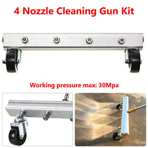 4 Spray Nozzle Car Under Body Chassis Garage Floor Washer Water Gun Cleaning Kit