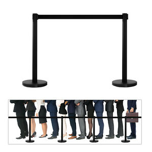 2pcak Stanchions Posts Pole Retractable Belt Crowd Control Barrier Black