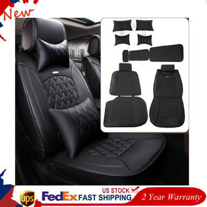 Car Full Surround Seat Cover Pu Leather Auto Chair Cushion Pillow Pad Mat Black