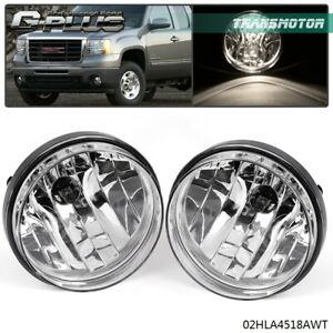 For 07 13 Gmc Sierra 1500 2500 Clear Front Bumper Fog Lights Lamps Left right