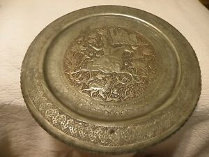 Antique Vintage Thick Tin On Copper Persian Or Middle Eastern Tray