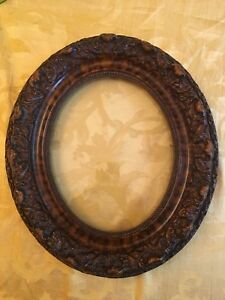 Vtg Antique Oval Solid Wood Frame Intricate Carving 14 With 9 Ph