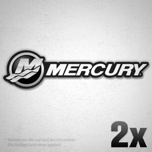 2x Mercury Vinyl Sticker Decal Fishing Boat Sponsor Outboard Hp Boat Optimax