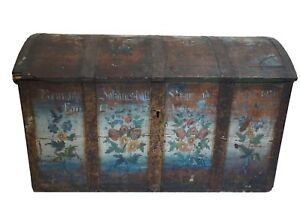 Antique Painted Scandinavian Wedding Trunk 1879