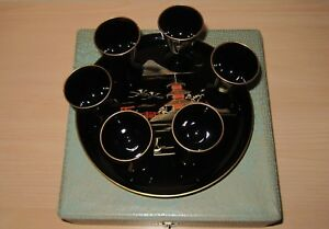 Complete Set Vintage Japanese Hand Painted Lacquer Ware 6 Mini Cups And Tray I