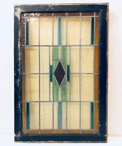 Antique Large English Stained Pebble Glass Reclaimed Salvaged Window 45 Inches
