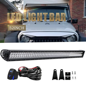 52 Led Light Bar 4x4 Off Road For Toyota Jeep Gmc Chevy Ford Ram Fog Light 54