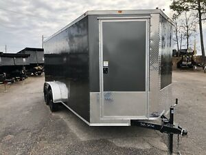 Vision Chassis Designed Enclosed Cargo Trailer 7x16 Charcoal Grey New 2019
