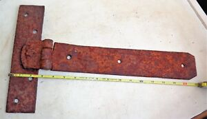 Antique Large Old Primitive Barn Door T Strap Hinge 17 X 10 Rusted Patina