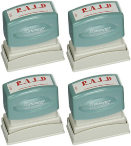Xstamperr One color Title Stamp Pre inked paid Eco Greeen Box pack Of 4