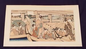 A Japanese Woodblock 21 X 12 Utamaro Kitagawa Enjoying The Cool At The Ryogoku