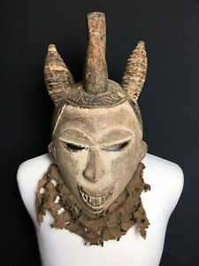 Antique African Wood Mask Feines Old Ibo Large Helmet Mask Nigeria 18 Inch