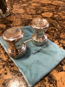 Authentic Tiffany Co Sterling Silver 925 Salt And Pepper Shaker Set