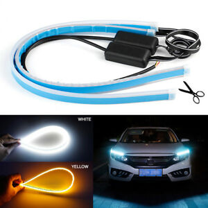 2x 60cm Led Light Strips Tube Switchback White Amber Flexible Drl Turn Signal