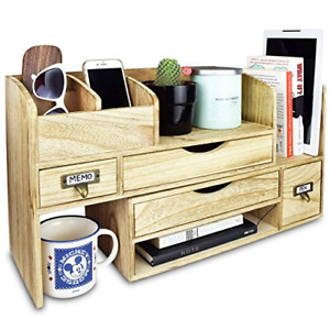 Adjustable Wooden Desktop Organizer Office Supplies Storage Shelf
