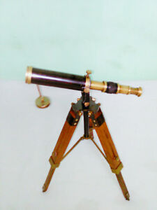 Brass Telescope Antique Vintage 9 Telescope With Wooden Tripod Stand Replica