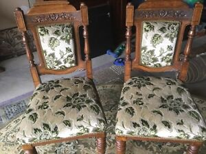 Pair Of Antique Oak And Upholstered Chairs