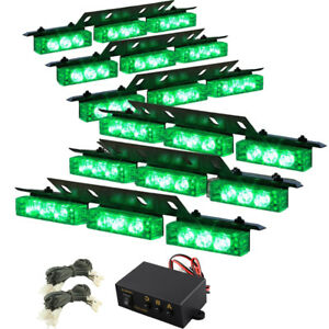 54 Led Green Emergency Warning Strobe Hazard Lights Bars Deck Dash Grill Advisor