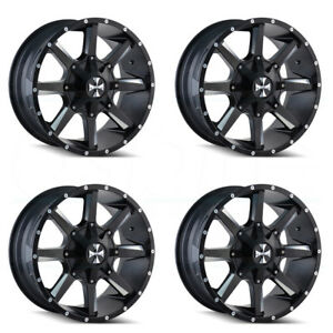 4 new 20 Cali Off road Busted Wheels 20x9 5x5 5 5x139 7 18 Satin Black Milled R