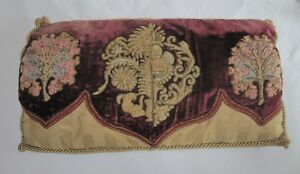 Antique Ecclesiastical Religious Metallic Embroidery Down Decorator Toss Pillow