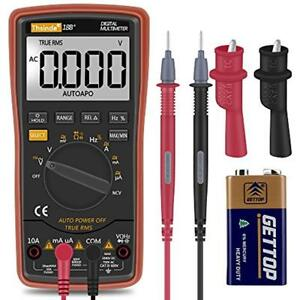 Auto Ranging Digital Multimeter Trms 6000 With Battery Alligator Clips Test And