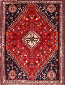 Outstanding Geometric Red 4x6 Wool Abadeh Nafar Area Oriental Rug 6 X4 7