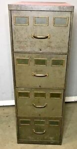 Vintage Industrial File Cabinet 4 Draw 3 Brass Name Plates Each Draw Retro