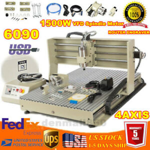 Usb 4 Axis 1 5kw Cnc6090 Router Desktop Vfd Engraver Metal Carving Drill Machine