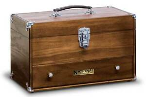 National By Gerstner N 515 Oak Utility Carrying Case Wood Tool Box Chest Us Made
