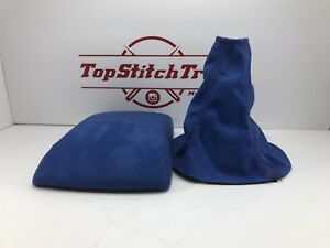 Fits 02 04 Wrx And Sti Shift Boot And Armrest Blue Suede Red Stitching