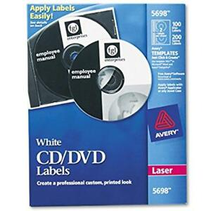 Avery Cd Labels For Laser Printers White 100 Disc And 200 Spine 5698 All