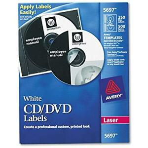 Avery Cd Labels White Matte 250 And 500 Case Spine 5697 All Purpose Office